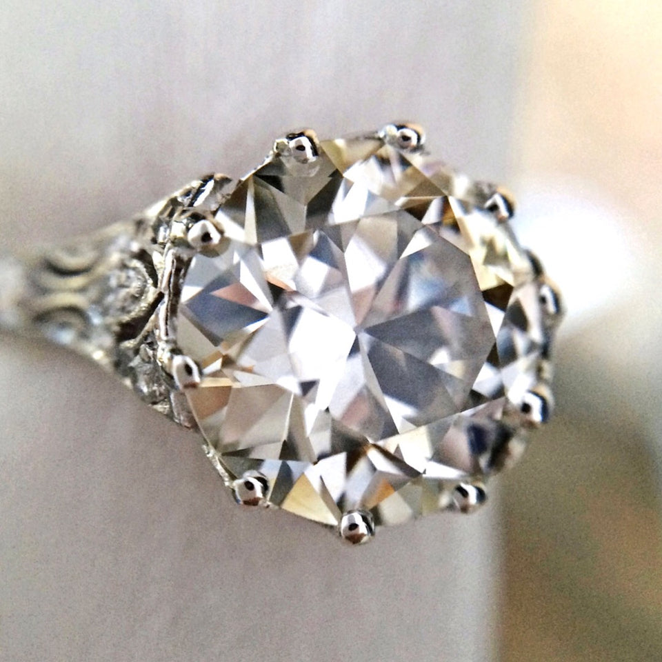 Edwardian Engagement Ring, TRB Diamond 3.00ct.:: sold by Doyle & Doyle a vintage and antique jewelry store.