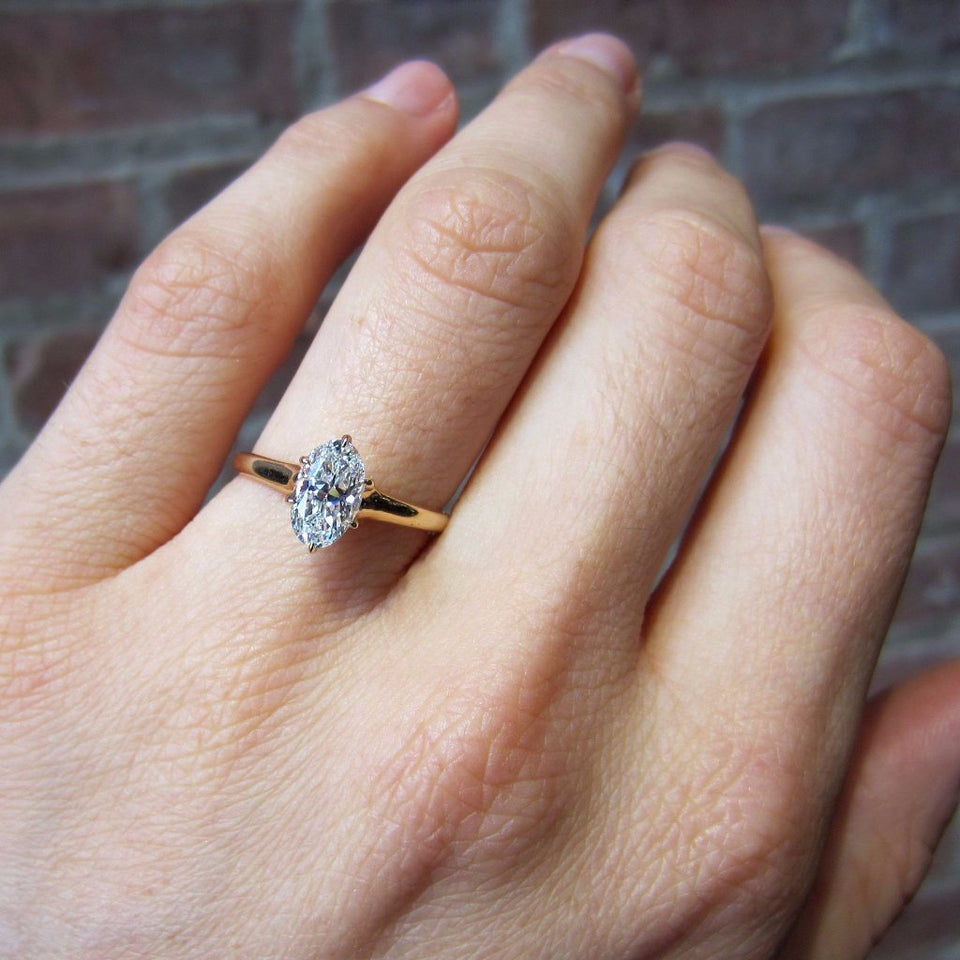 Vintage Oval Solitaire Engagement Ring, 1.02ct