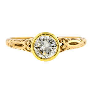 Vintage Engagement Ring, RBC 0.57ct