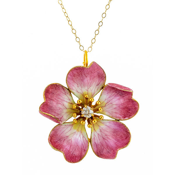 Victorian Diamond Enamel Pansy Pin/Necklace