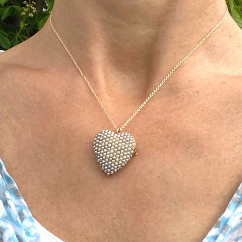 Victorian pave set pearl heart pin/pendant 106375N from Doyle & Doyle