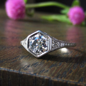 Art Deco Diamond Engagement Ring, TRB 0.65ct