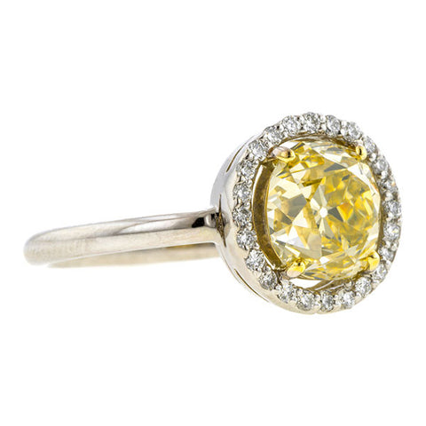 Vintage Fancy Yellow Diamond Engagement Ring, 1.88ct Old Mine Cut
