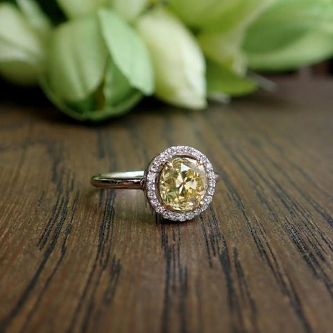 Vintage Fancy Yellow Diamond Ring, 1.88ct Old Mine Cut