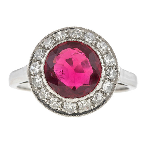 Estate Red Spinel & Diamond Halo Ring, 2.27ct.