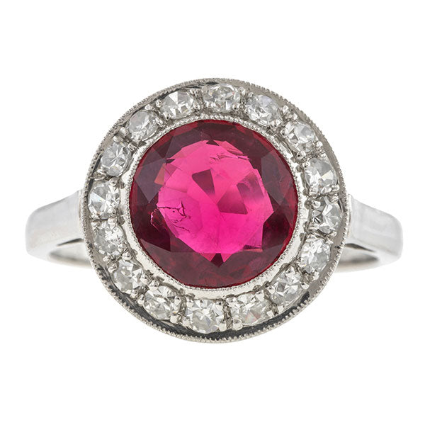 Estate Red Spinel & Diamond Halo Ring, 2.27ct
