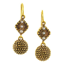 Antique Seed Pearl & Granulated Drop Earrings