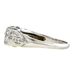 Art Deco Three Stone Diamond Ring, 1.00ctw