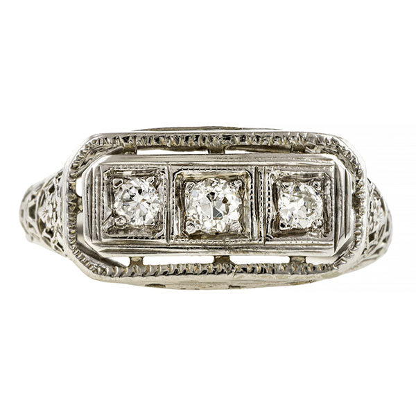 Vintage Three Stone Diamond Ring, 0.20ctw