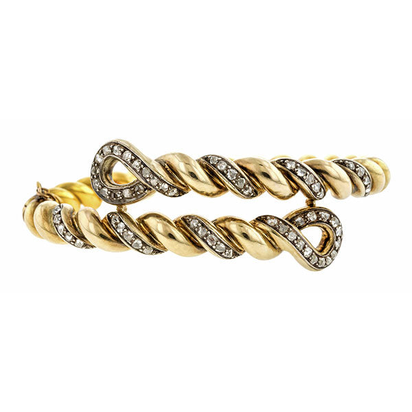 Antique Rose Cut Diamond Twist Bracelet