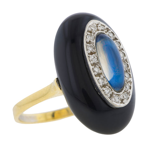 Art Deco Moonstone, Diamond & Onyx Ring