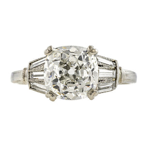 Vintage Platinum Engagement Ring, Cushion cut, sold by Doyle & Doyle an antique and vintage jewelry store.