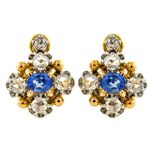 Antique Sapphire & Rose Cut Diamond Earrings