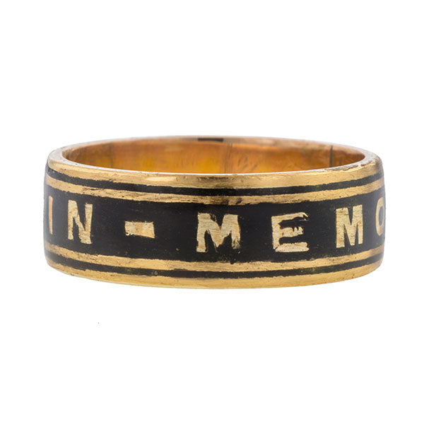 Victorian Black Enamel Mourning Ring