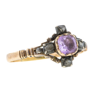 Georgian Amethyst & Diamond Ring, sold by Doyle & Doyle an antique and vintage jewelry store.