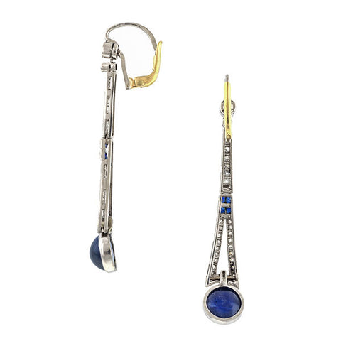 Vintage Diamond and Sapphire* Drop Earrings