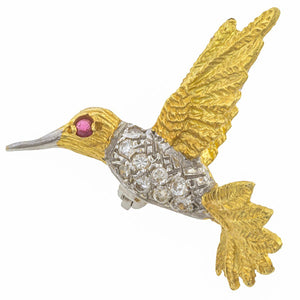 Vintage Diamond & Ruby Hummingbird Pin