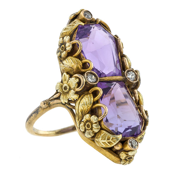 Arts and Crafts Amethyst and Diamond Ring