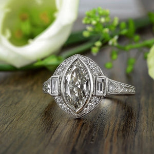 Art Deco style marquise diamond engagement ring from Doyle & Doyle 106623R