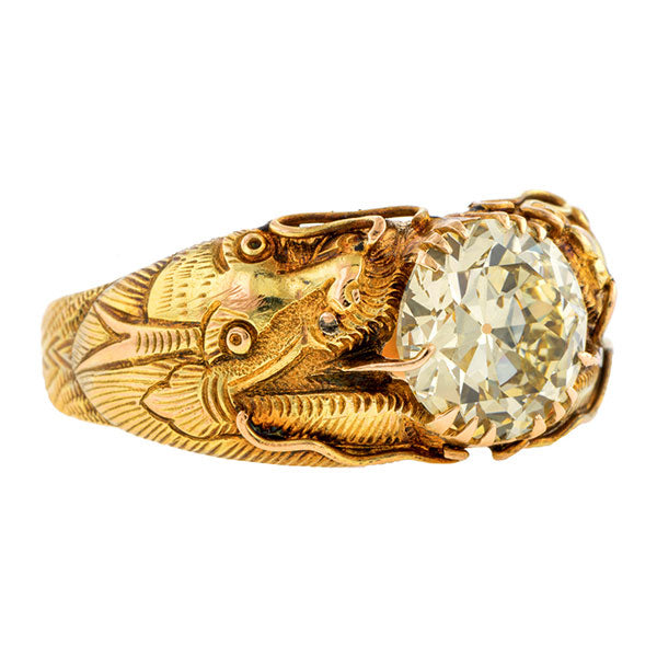 Vintage Diamond Dragon Ring, RBC 2.56ct