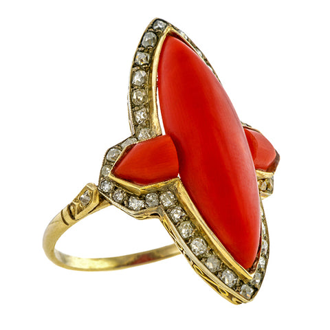 Art Deco Marquise Coral Ring