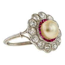 Edwardian Pearl Ruby & Diamond Ring