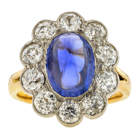Edwardian Sapphire & Diamond Ring, sold by Doyle & Doyle an antique and vintage jewelry store.