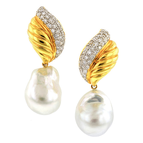 Vintage Day/Night Diamond and Pearl Drop Earrings