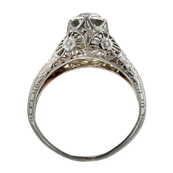 Vintage Filigree Engagement Ring Cushion 1.15ct