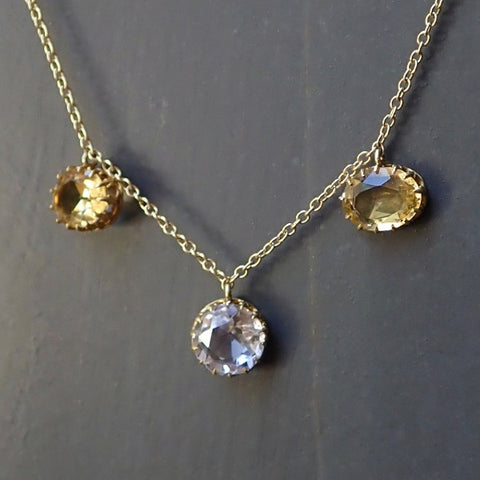 Victorian Citrine and Rock Crystal Necklace set in 18k gold from Doyle & Doyle 106763N