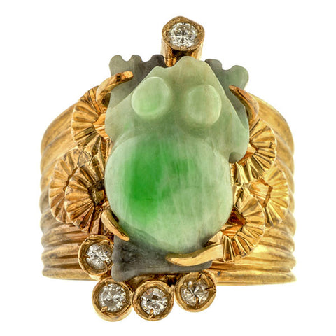 Vintage Carved Jade Frog & Diamond Ring