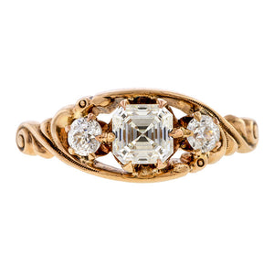 Art Deco Engagement Ring, Asscher 0.62ct