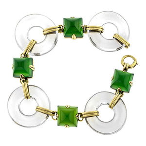 Art Deco Rock Crystal & Green Onyx Bracelet