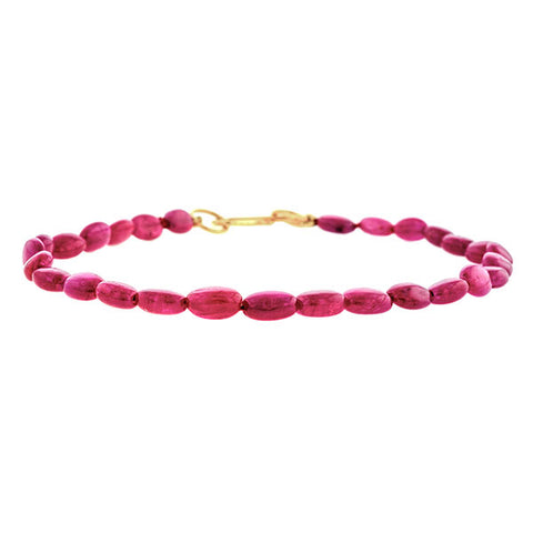Estate Ruby Bead Bracelet