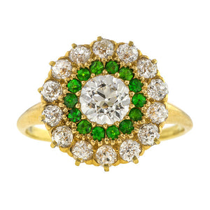 Edwardian Diamond & Demantoid Garnet Ring