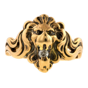 Antique Lion Diamond Ring