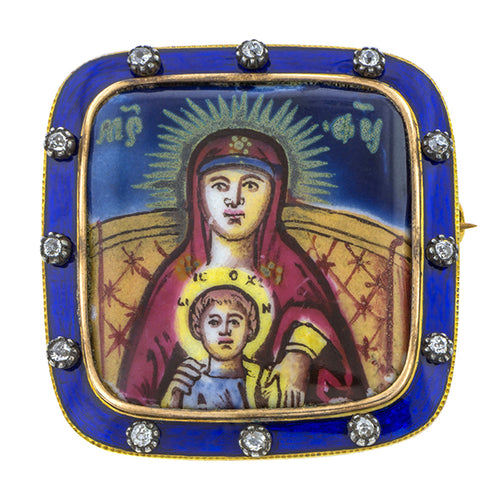 Georgian Enamel Madonna & Child Diamond Brooch