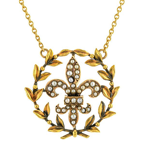 Seed Pearl Fleur de Lis Laurel Wreath Necklace