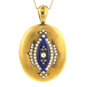Antique Pearl & Diamond Enamel Locket