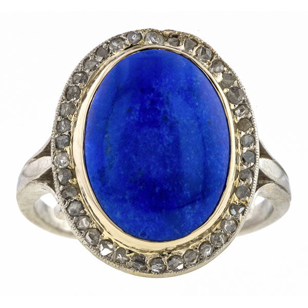Art Deco Lapis & Diamond Ring
