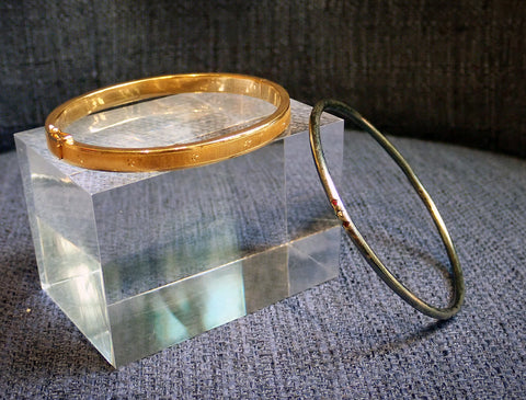 Vintage Engraved Star Bangle Bracelet, sold by Doyle & Doyle an antique and vintage jewelry store.