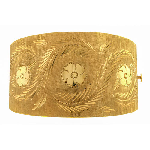 Vintage Engraved Star Bangle Bracelet