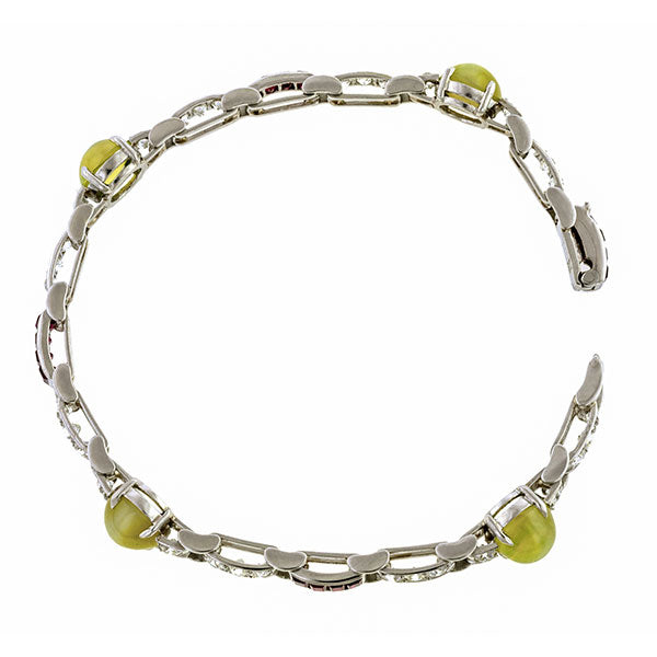Art Deco Cat's Eye Chrysoberyl, Ruby & Diamond Bracelet