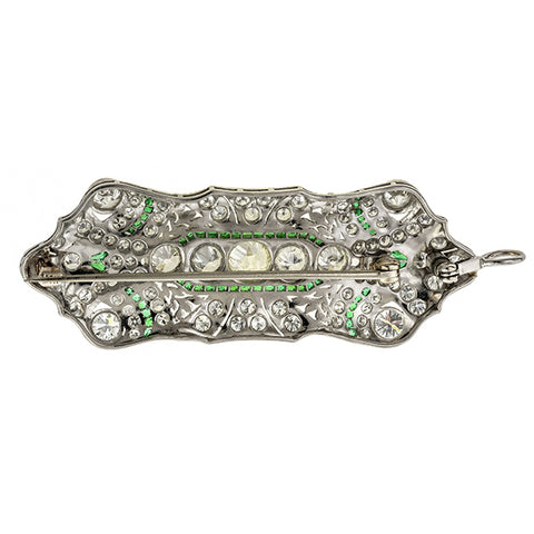 Art Deco Diamond & Emerald Pendant / Pin