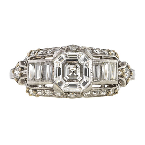 Art Deco Engagement Ring, Asscher 1.18ct