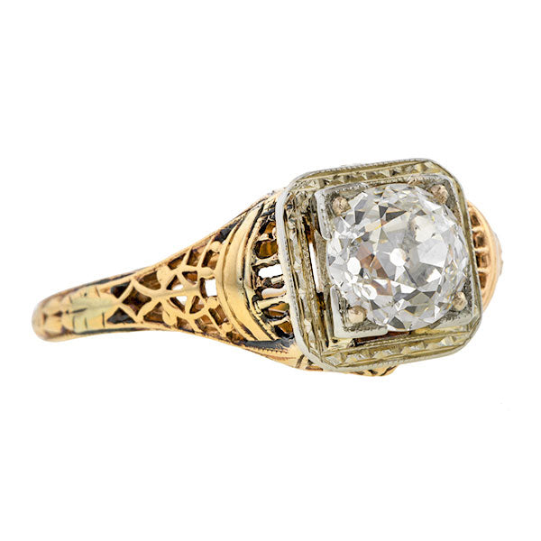 Vintage Engagement Ring, Old Euro 1.04ct