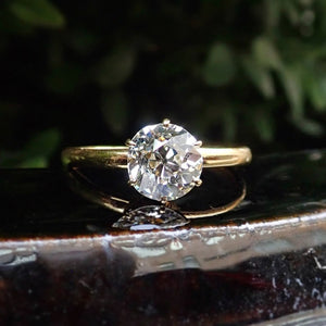 Antique Solitaire Engagement Ring, Old European Cut Diamond 1.25ct