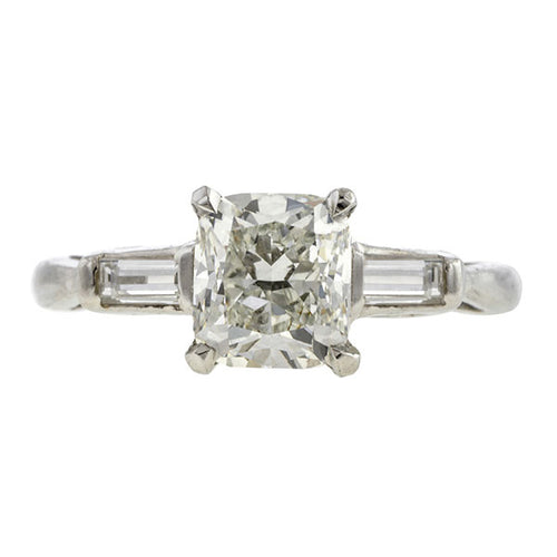 Vintage Engagement Ring, Rectangular Diamond 1.24ct
