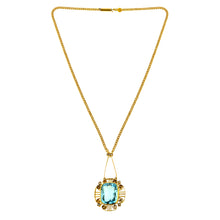 Arts & Crafts Aquamarine & Diamond Necklace