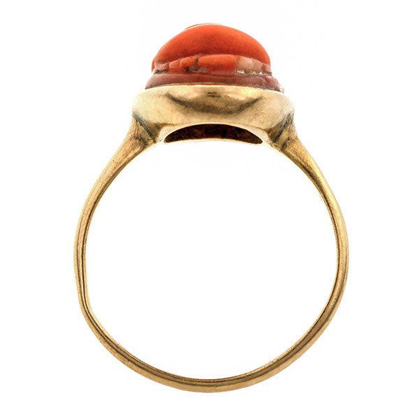 Victorian Carved Coral Cameo Ring